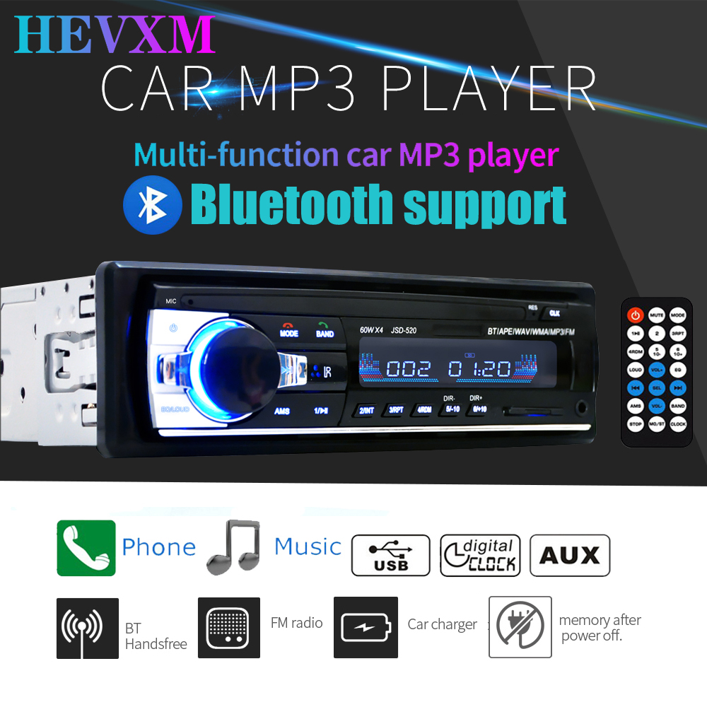 HEVXM JSD-520 <font><b>Bluetooth</b></font> <font><b>Autoradio</b></font> <font><b>Car</b></font> Stereo <font><b>Radio</b></font> FM Aux Input Receiver <font><b>SD</b></font> USB 12V In-dash <font><b>1</b></font> <font><b>Din</b></font> <font><b>Car</b></font> <font><b>MP3</b></font> Multimedia <font><b>Player</b></font> image