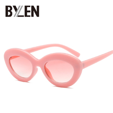 Роскошные женские Овальные Солнцезащитные очки, винтажные милые розовые солнечные очки Cateye, элегантные солнцезащитные очки с толстой оправой, круглые солнцезащитные очки UV400