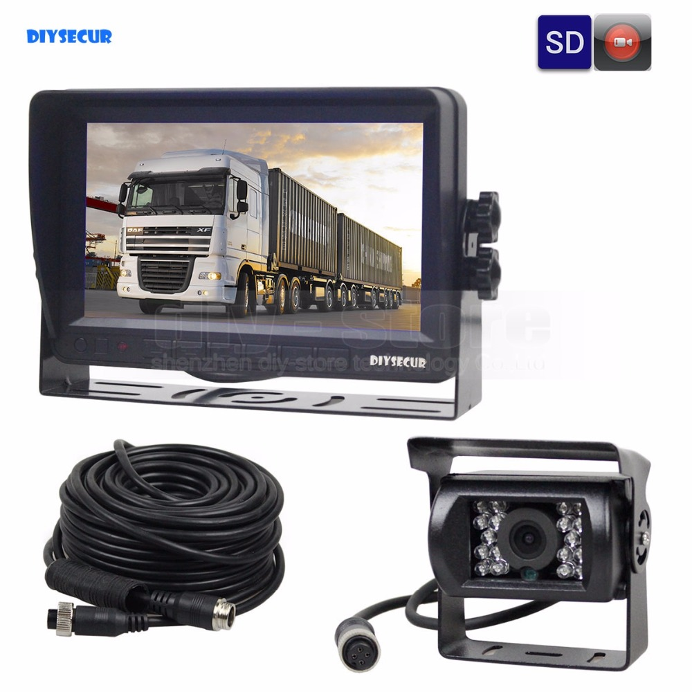DIYSECUR AHD 7inch TFT LCD Car Monitor Rear View Monitor Waterproof IR 1300000 Pixels AHD Camera Support SD Card Video Recording