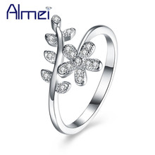 Almei 40%Off Wholesale Sterling-Silver-Jewelry Flower Silver Rings Zircon Womens Ring Anillo Plata 925 Mujer With Box SVR119