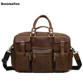 Packing Hand Luggage Shulder Bag WaterProof Luggage Genuine Leather Travel Bag Unisex 2020 Portable Duffel Vintage Handbag LY45 - DISCOUNT ITEM  23 OFF Luggage & Bags