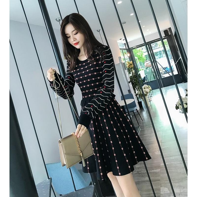 31480965 New Korean Dress Women Autumn Winter Ruffles Long Sleeve A-line Knit Dress  Vintage Elegant