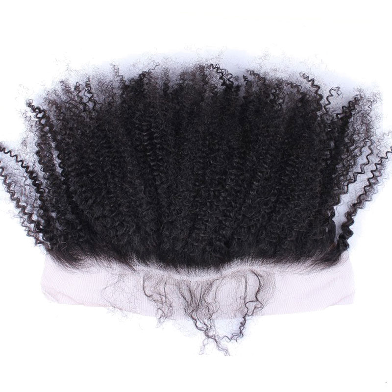 Afro Kinky Curly Silk Base Lace Frontal Closure 100% Human Hair 13x4 Brazilian Lace Frontal Free Part Bleached Knots Remy CARA