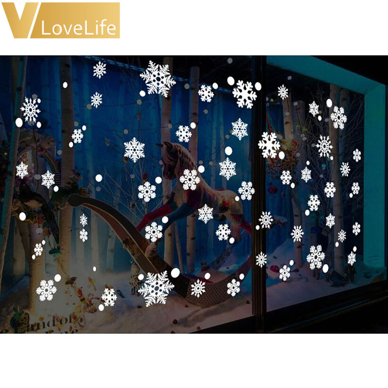 48pcs/set Christmas Window Snowflake Stickers Office Christmas Party Supplies Winter Wall Stickers New Year Xmas Decorations