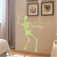 Yanqiao Dancing Skeleton Luminous Wall Stickers For Home Living Room Party Decorations