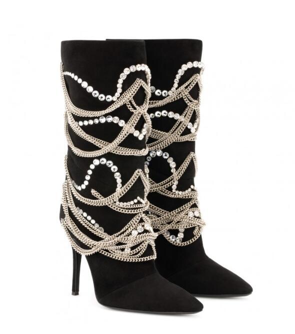 Talon Glissière Cristaux noir Avec Mujer Dos Zapatos Pointu Bottes Bout mollet Chaînes Et Daim En Beige Au De Haut Chaussures Femmes Mi Botte 2019 x0Zq4vwn