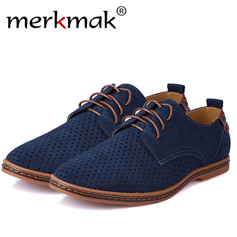 Merkmak Hot Sale Men Casual Shoes Leather Summer Breathable Holes Luxury Brand Flat Shoes for Man Wedding Big Size38-48 Dropship