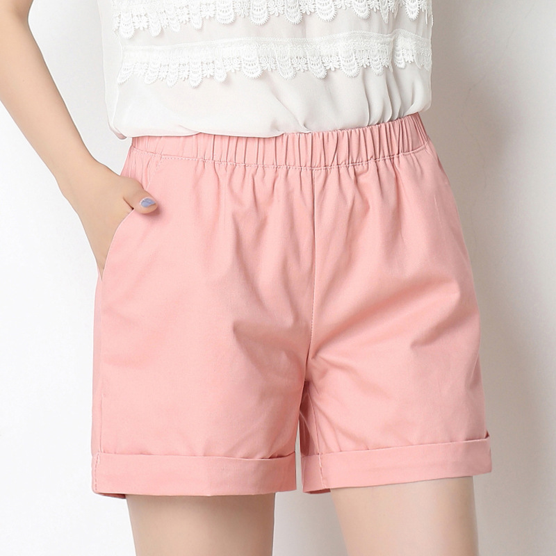 Candy Color Stright elastic waist Shorts women Shorts Feminino 2019 summer casual simple hemming above knee shorts wome clothes