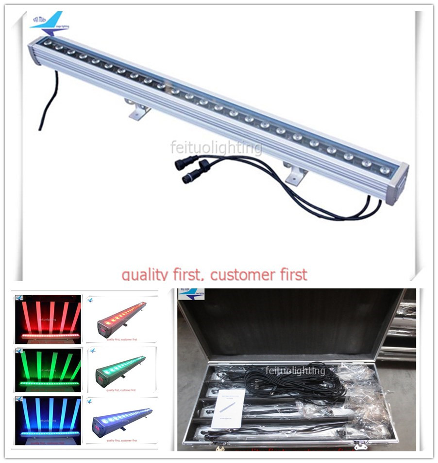 4pcs/lot flycase 24 LEDS 3W Linear City Color Wall Washer RGB Floorlight Stage Bar Party Outdoor Lights DMX Landscape Show Disco