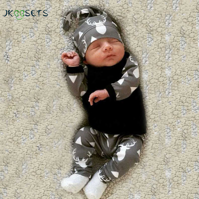 Cute Newborn Baby Girl Boy Clothes Deer Tops T-shirt Long Sleeve + Pants Casual Hat Cap 3pcs Outfits Set Autumn Winter newborn infant girl boy long sleeve romper floral deer pants baby coming home outfits set clothes
