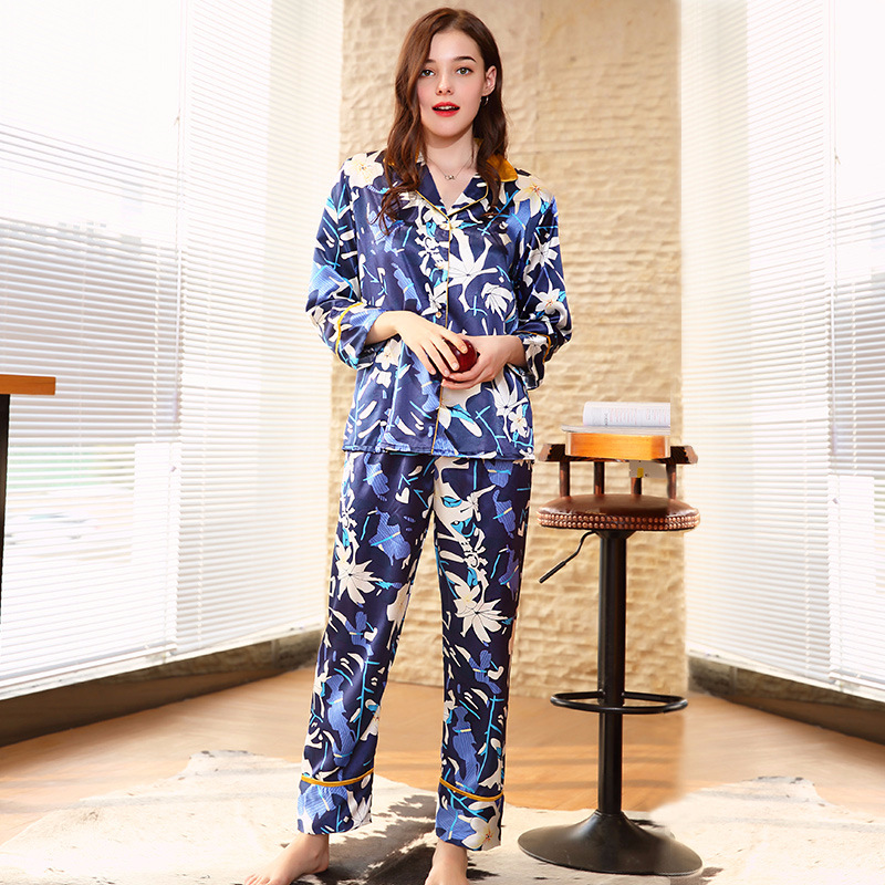 ea3ac0727 Casual Silk Blue Womens Pajamas Set V Neck Women Lingeries Turn down Collar  Sleeping Clothing Nighty Set Long-in Pajama Sets from Underwear    Sleepwears on ...