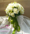2017 Artificial Bouquet Mariage Milk White Rose Wedding Bouquets for Brides Green Ribbon Bridesmaid Bouquet with Wrist Flowers