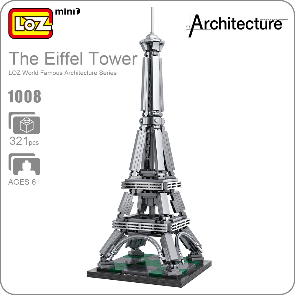 LOZ Mini Blocks Building City Toys The Eiffel Tower Plastic Assembly Blocks Children Toy Educational DIY Architecture Model 1008 loz blocks architecture series the white house juguetes trevi fountain mini diamond blocks compatible educational lepins toy