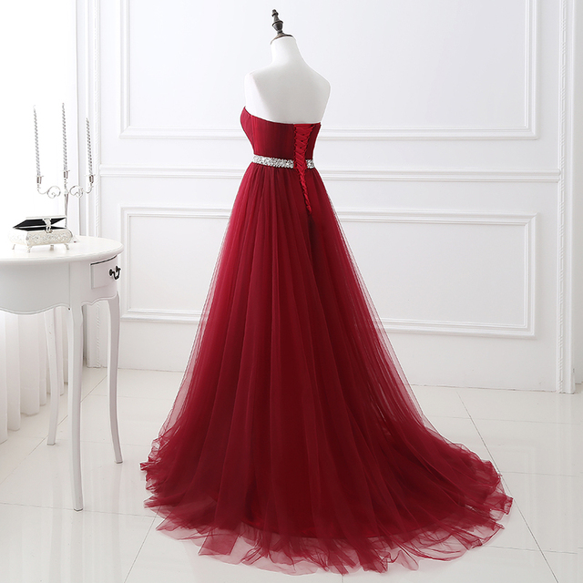 Simple 2020 Women Wine Red Evening Dress Formal Tulle Dresses Sweetheart Neckline Sequin Beaded Prom  GraduationParty Dress 3