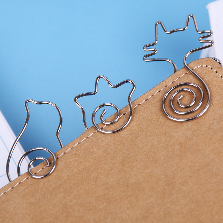 1PC Paper Clips Metal Modelling Cat Bird Flower Cute Paper Clips and Kawaii Bookmark Office Binding Stationary Clip in Clips from Office School Supplies
