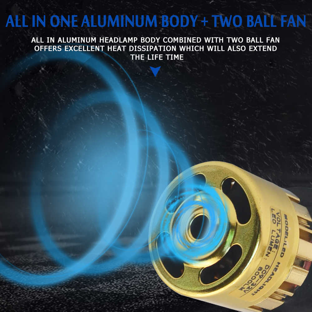 One Pair H3 LED H7 H1 H4 H11 H8 H9 H13 9005 9006 9007 881 Car Led Headlight Kit 72W 8000LM Auto Headlamp Fog Light Bulbs 6500k