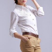 秋の綿白シャツレディースロングスリーブブラウス韓国女性服 ファムレディースファッション Femininas 2018