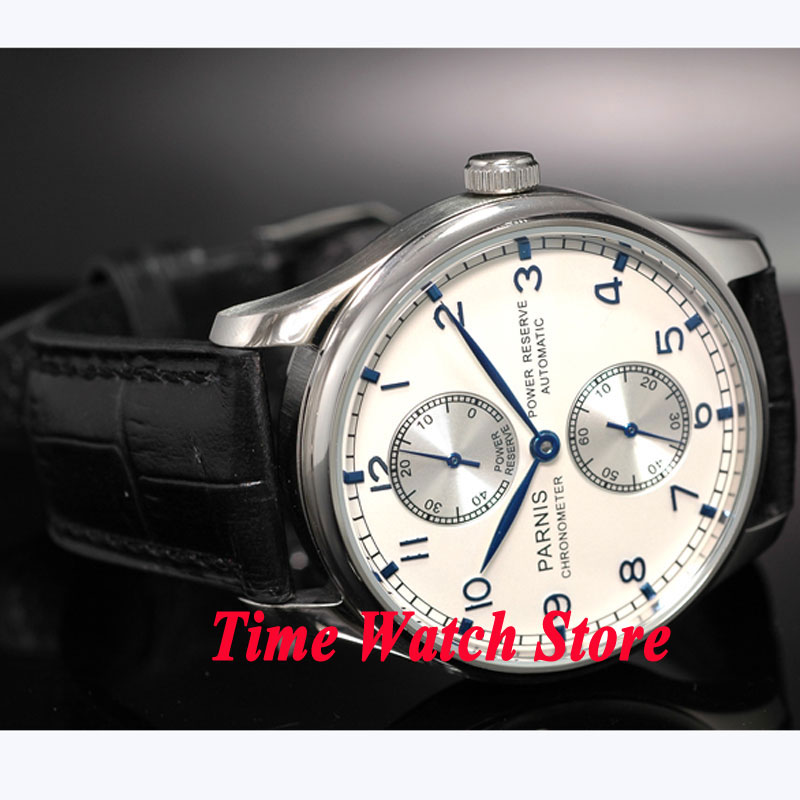 где купить Parnis watch 43mm Power reserve silver dial Black Leather Strap ST2542 Automatic movement Men's watch 99 relogio masculino дешево