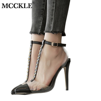 Mcckle المرأة واشار تو برشام إبزيم حزام مثير رقيقة عالية الكعب الصنادل السيدات أزياء شفافة الكاحل حزام الخنجر أحذية