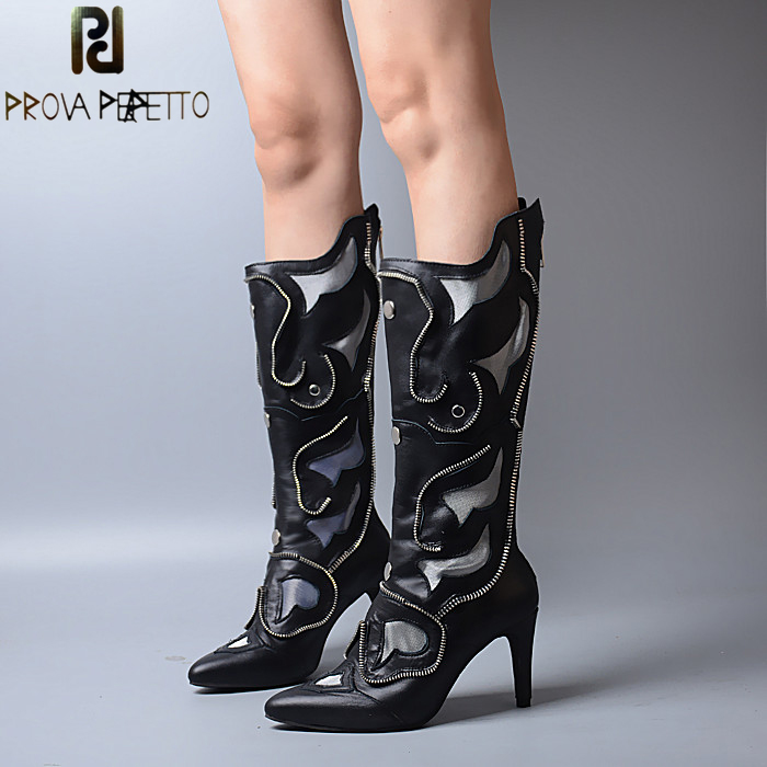Prova Perfetto Original Design Fashion Pointed Toe Thin Heel Genuine Leather Woman Boots Patchwork Knee High Heel Zipper Boots