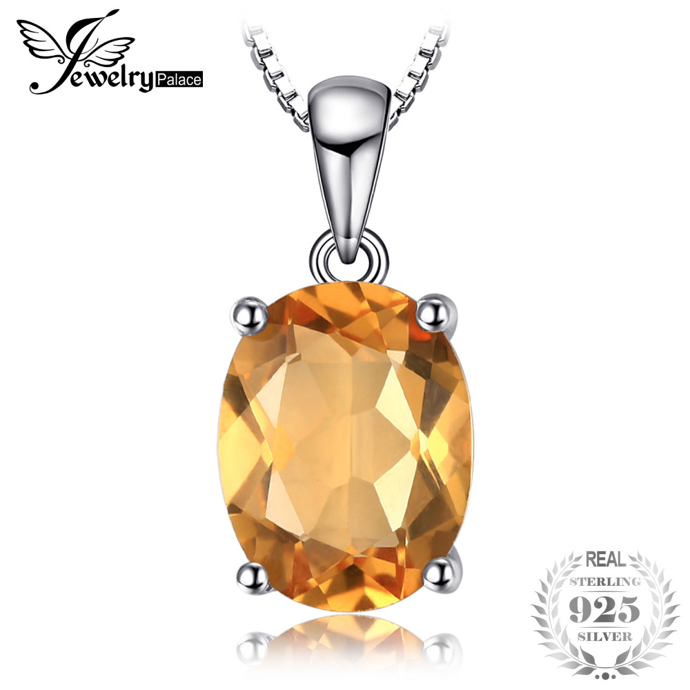 JewelryPalace Oval 1.7ct Natural Citrine Birthstone Solitaire Pendant 925 Sterling Silver Fine Jewelry For Women Without a Chain