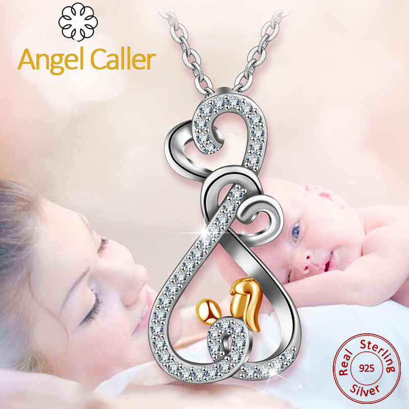 Angel Caller 925 Sliver Double Heart Necklace Pendant Gold Mother & Child Love Pendants For Mothers Day Gift Gril Neck Chain