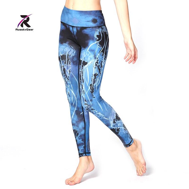Jogas drukātie legingi un capris seksa izstieptas sporta bikses ar - Sporta apģērbs un aksesuāri