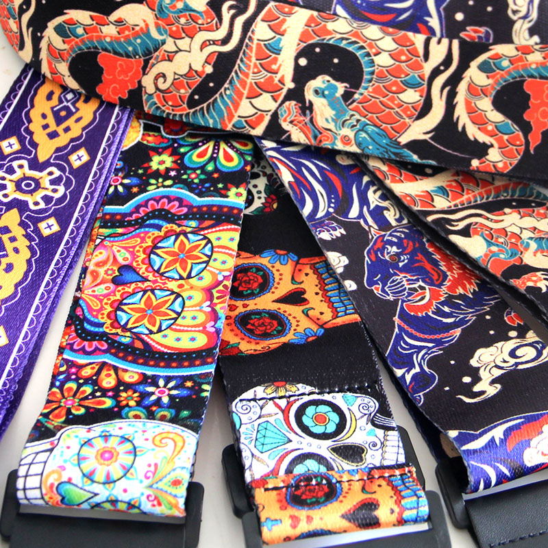 MUKU New 5 Colors Vintage Flowers Stripes Acoustic Electric Guitar Strap Woven Embroidery Fabrics Leather Ends Strap