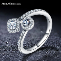 ANFASNI Fashion 925 Sterling Silver Round Square Design Sterling Silver Ring With AAA Clear Cubic Zirconia