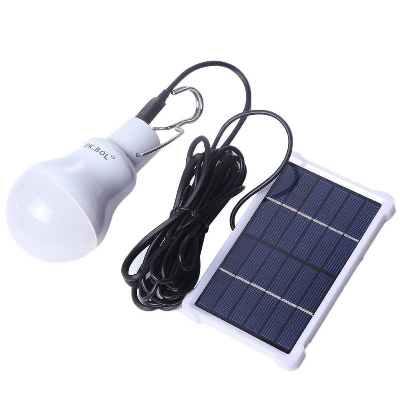 Solar light Rechargeable Powered LED Bulb Lamp Panel for Fishing Camping Home Emergency Light