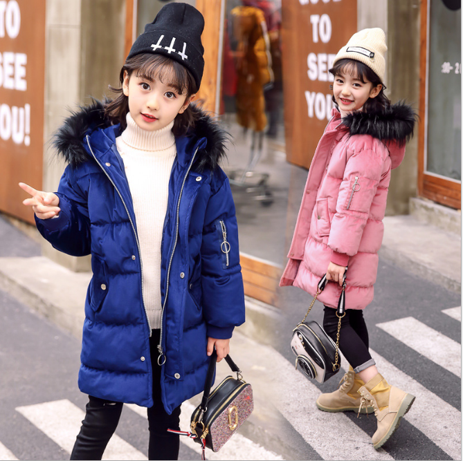 2018 New Fashion Children Winter Jacket Girl Winter Coat Kids Warm Thick Fur Collar Hooded long down Coats For Teenage 4Y-14Y new fashion kids warm thick fur collar hooded daddy chen children winter jacket girl winter coat long down coats for teenage