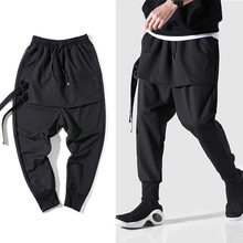 Diablo стиль индивидуальность боковые ленты мужские брюки для бега хип-хоп осень обычная, высокая, на выход мужские брюки крест-накрест уличная