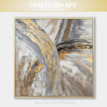 Artist Hand-painted High Quality Modern Abstract Golden Grey Colors Oil Painting on Canvas Picture for Wall Decoration
