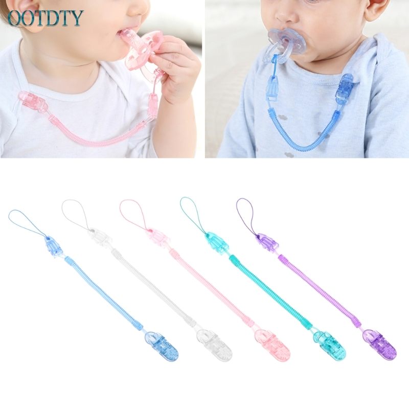Baby dummy clip soother HOLDER chain Green Blue Pink LADYBIRD strap ribbon NEW