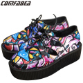 Big Size Womens Ladies Lace Up Punk Gothic Rock High Platform Creepers Shoes Harajuku Graffiti Creeper Canvas Shoes