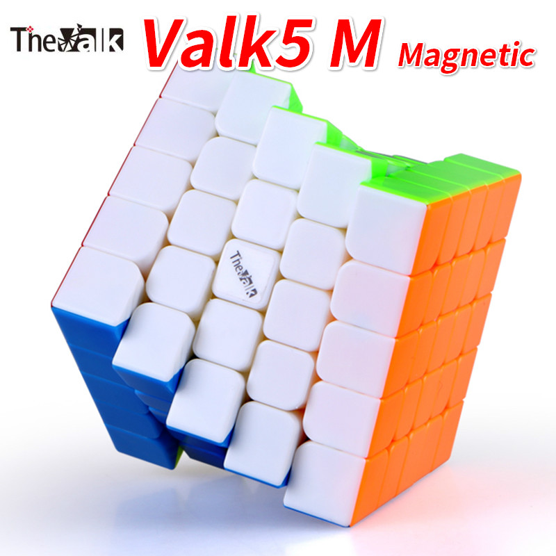 Nouveau Qiyi Mofangge Valk5 M 5x5x5 Cube magique sans autocollant magnétique Cube de vitesse VALK 5 M 5x5 noir Valk5M Cube Cubos Magico