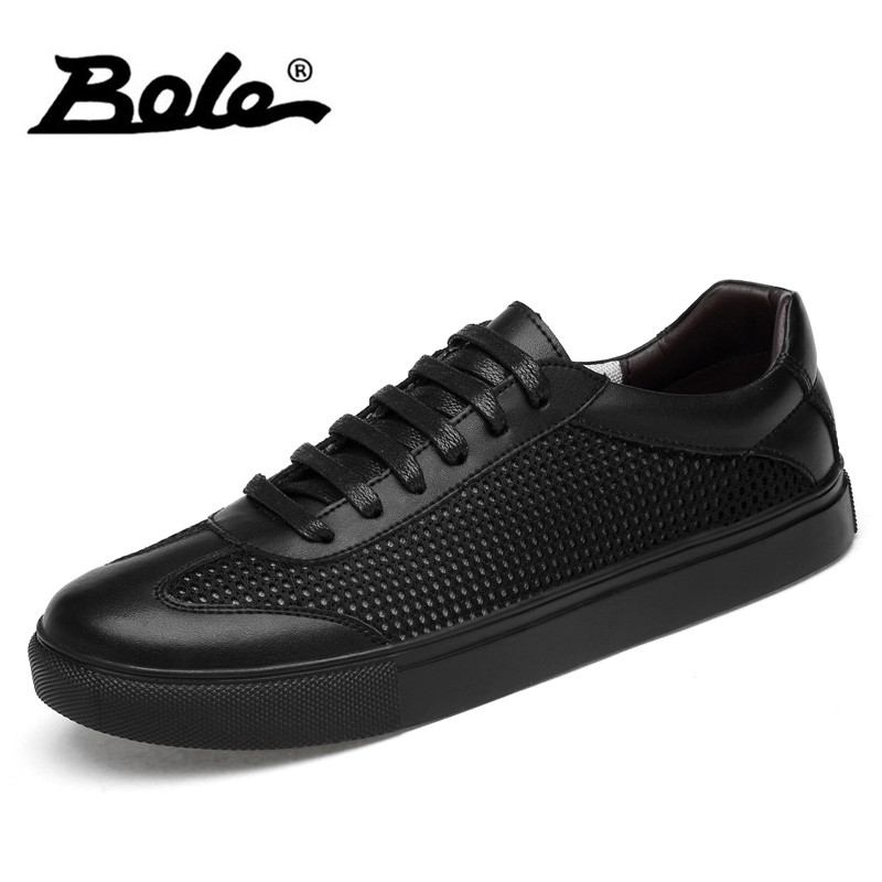 BOLE Large Size 38-46 Genuine Leather Casual Shoes Breathable Men Flat Shoes Lace Up Non-slip Men Sneakers Fashion Casual Shoes genuine leather women shoes fashion lace up casual flat shoes peas non slip outdoor shoes plus size