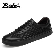 BOLE Large Size 38-46 Genuine Leather Casual Shoes Breathable Men Flat Shoes Lace Up Non-slip Men Sneakers Fashion Casual Shoes