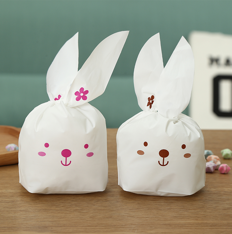 200pcs Cute long ears rabbits Snack paking bag Wedding birthday party candy biscuit decorations bag.Multi size option ...