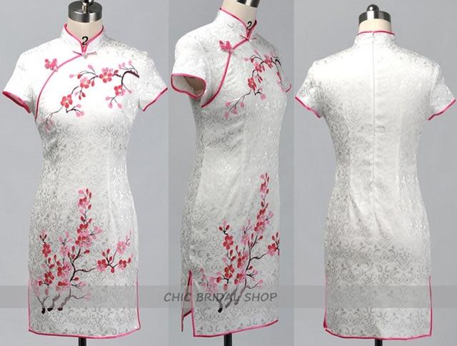 White Cotton Sheath Cheongsam with Plum Blossom Pattern Chinese ...