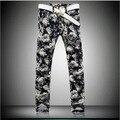 2016 nuevos hombres de pantalones de Jean de lujo winter stretch denim pantalones de impresión en color