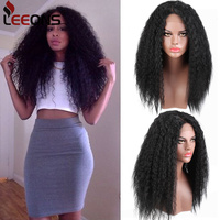 Leeons Curly Synthetic Wig Kinky Straight Wigs For Black Women Long False Fake Hair High Density Temeperature Manudacture Fibre