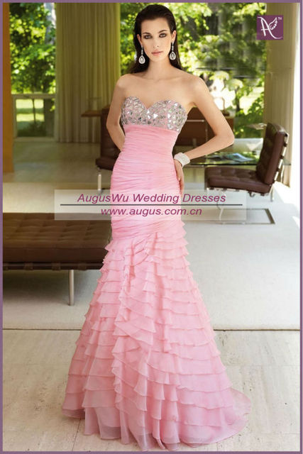 Pink Chiffon Tiered Dress
