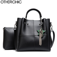 OTHERCHIC Women Fashion Double Bag Tassel Tote Bag Set With Messenger Crossbody Bag All Match Top