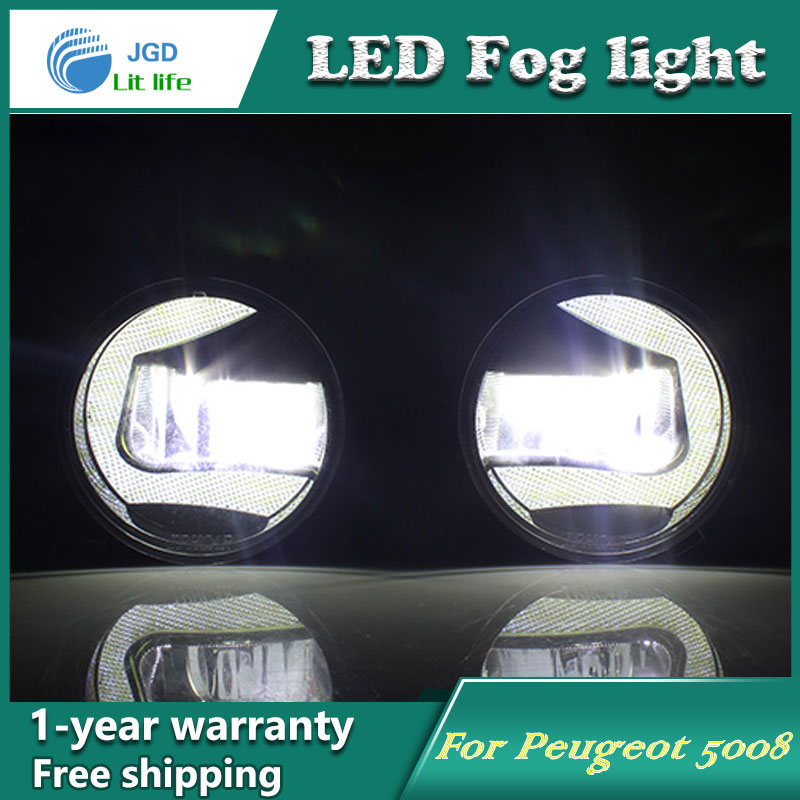 Super White LED Daytime Running Lights case For Peugeot 5008 Drl Light Bar Parking Car Fog Lights 12V DC Head Lamp free ship g4 hp24w 9w amber white led daytime running lights for cars peugeot 3008 led drl light