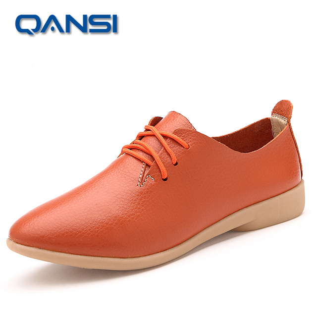 High quality 2016 Woman casual shoes Genuine Leather lady simple fashion low shoes lace up officel working shoes female footwear