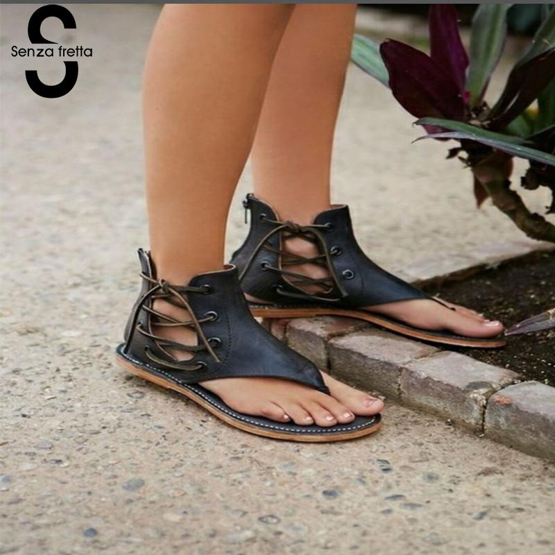 Senza Fretta 2018 Summer Women Gladiator Vintage Sandals Lace Up Flip-Flops Strap Flat Heel Shoes Leather Woman Sandalias Mujer fashion green women flat comfortable sandals rome vintage leather casual flat gladiator sandal summer shoe woman sandalias mujer