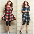 Maternity 2017 New Loose Large Plaid Cotton Short-sleeve Casual Clothing for Pregnancy Wear Red Blue Pregnant Women Dresses