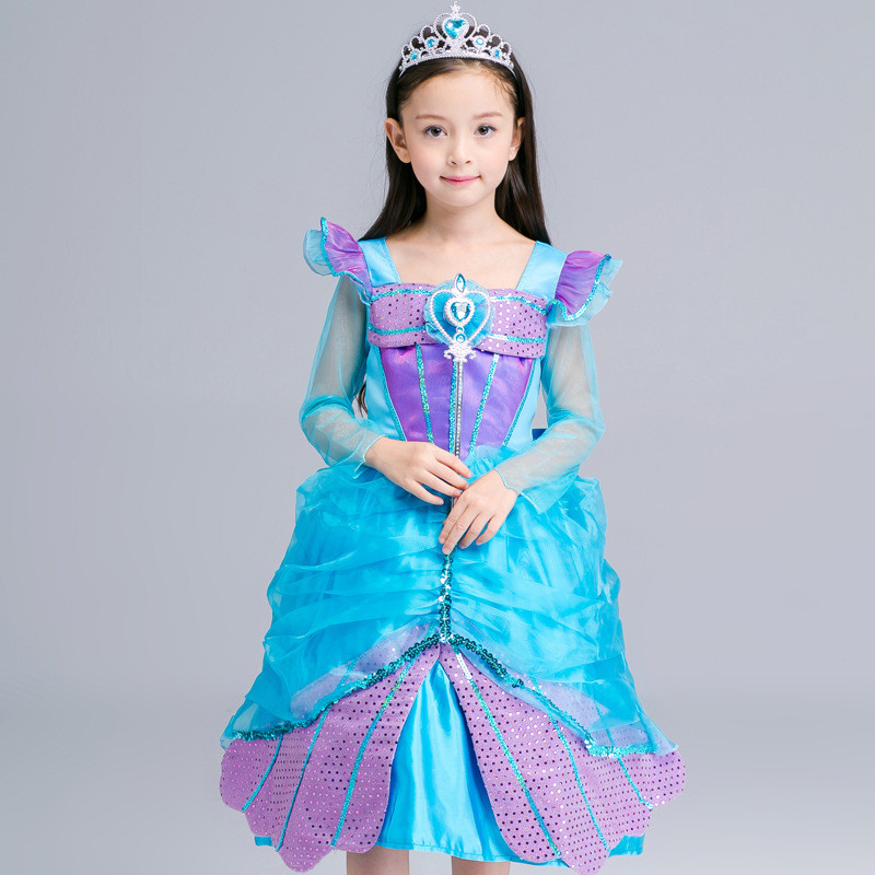 Autumn New Rapunzel Princess Girls Dress Cinderella Blue Sequin Children Sleeping Beauty Party Costume Dress Long Sleeve for Kid anne klein new jade long sleeve sequin sweater s $79 dbfl
