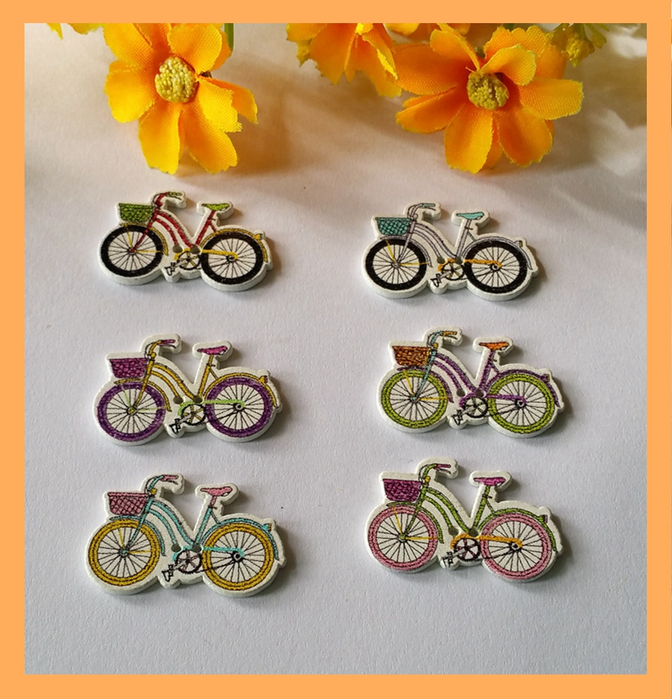 2016 new hot sale 150pcs 2 holes bicycle pattern wooden for Craft buttons for sale